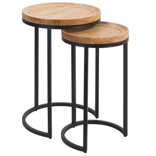 Table d'appoint Yaca en bois d'acacia (lot de 2)