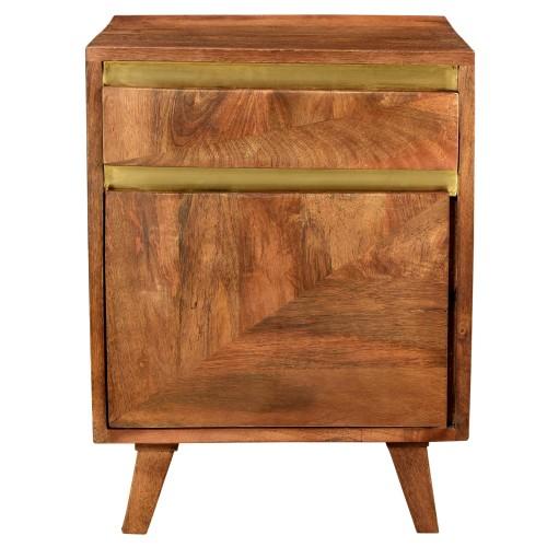 Table de chevet Tripoli en bois détails dorés