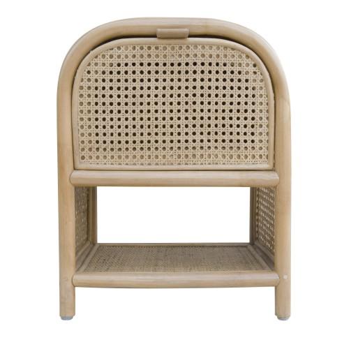 acheter table de chevet en bois et rotin