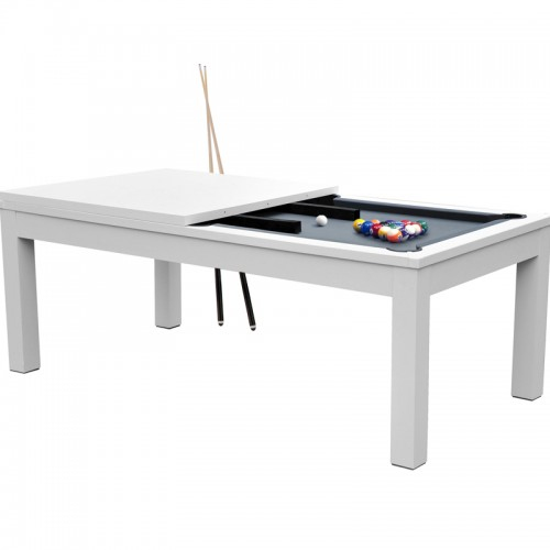 Table de Billard Eddie convertible blanche tapis gris