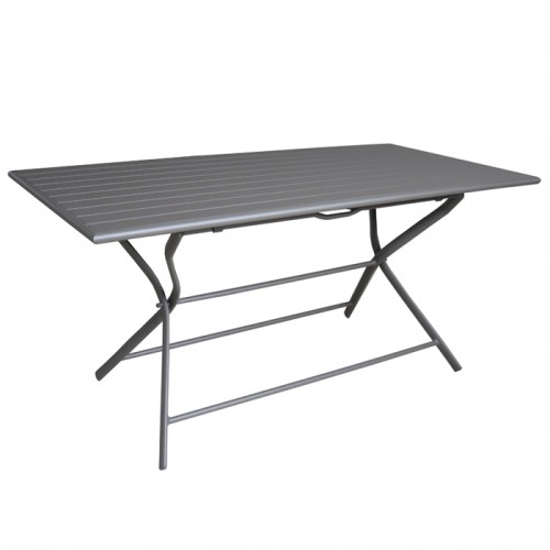 table de jardin rectangulaire pliante en aluminium grise 6. Black Bedroom Furniture Sets. Home Design Ideas