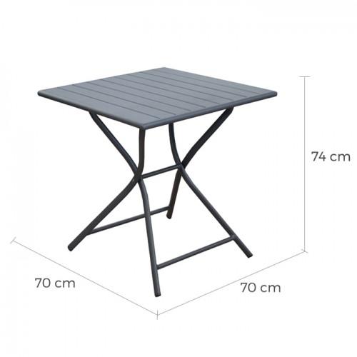 Table de jardin Globe pliante grise 70 cm