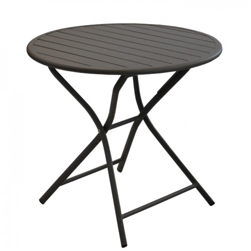 acheter table ronde de jardin pliante marron cafe