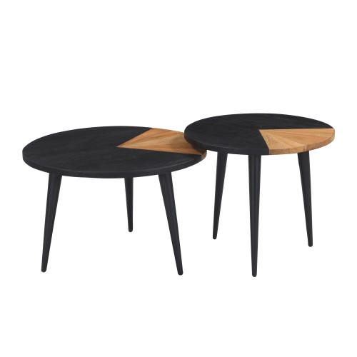 acheter tables basses lot de 2 bois noir