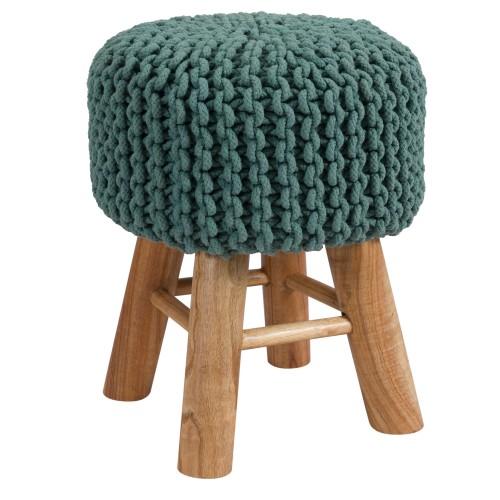 Tabouret tricot Lisa vert céladon