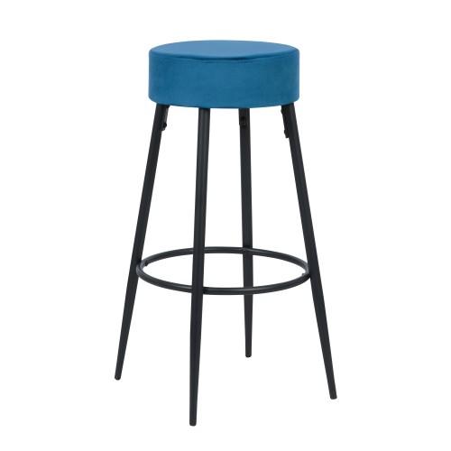 Tabouret de bar Gustave en velours bleu 77 cm