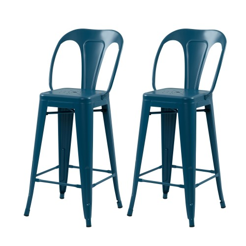 Chaise de bar Indus bleu mat 66 cm (lot de 2)