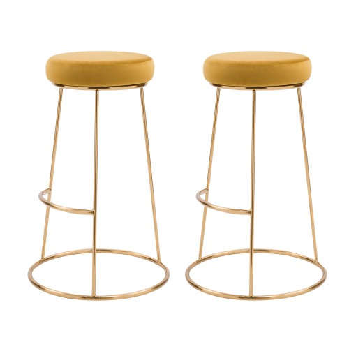Tabouret de bar Kendal en velours jaune curry 73 cm (lot de 2)