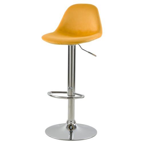Chaise de bar Pavo en velours jaune 60/82 cm