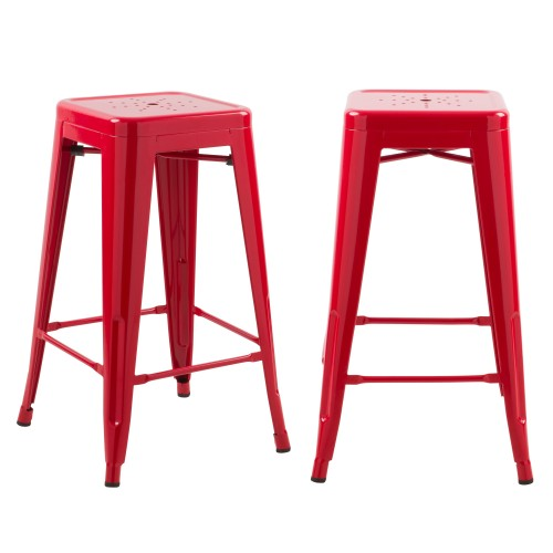 Tabouret de bar mi-hauteur Indus rouge brillant 66cm (lot de 2)