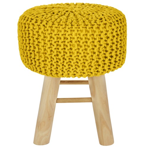 Tabouret tricot Lise jaune moutarde