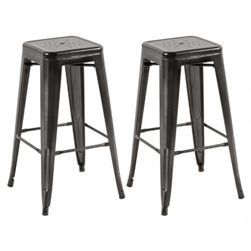 Tabouret de bar Indus anthracite 74 cm  (lot de 2)