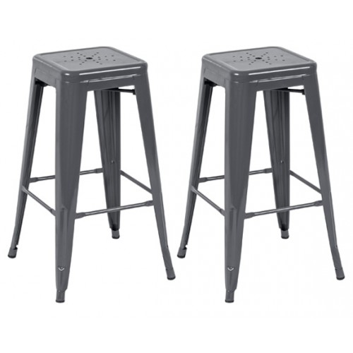 Tabouret de bar Indus gris brillant 74 cm (lot de 2)