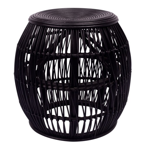 Tabouret April en rotin noir