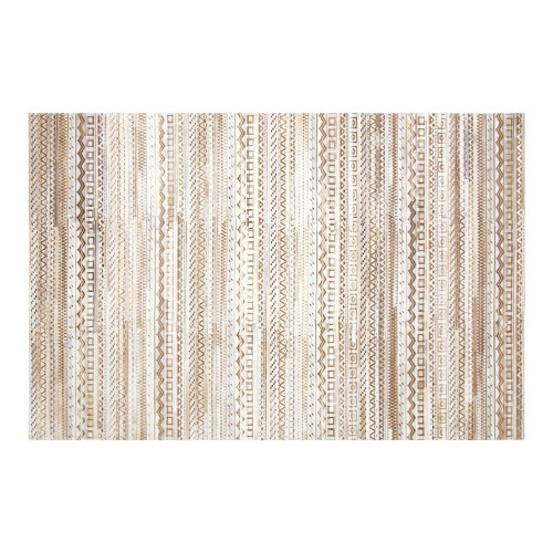 acheter tapis beige blanc cuir 160 x 230