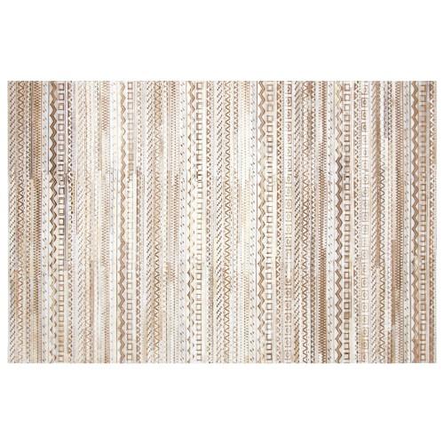 acheter tapis cuir beige blanc cuir