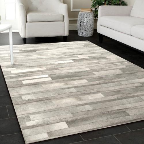 acheter tapis cuir gris clair
