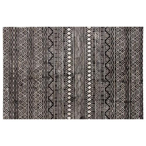 Tapis Surate en cuir noir et blanc 200x300 cm