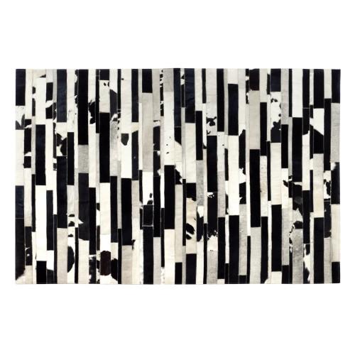 Tapis cuir Vivek noir et blanc 140x200 cm