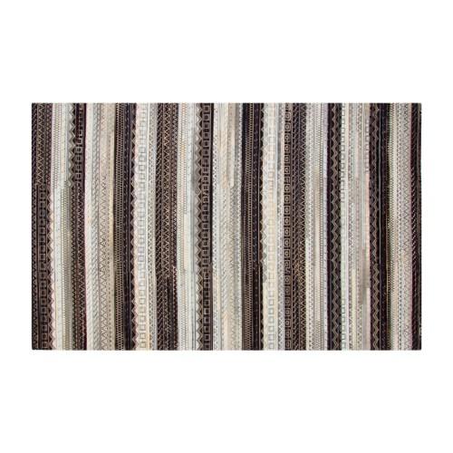 Tapis Kanpur en cuir noir blanc et gris 160x230 cm