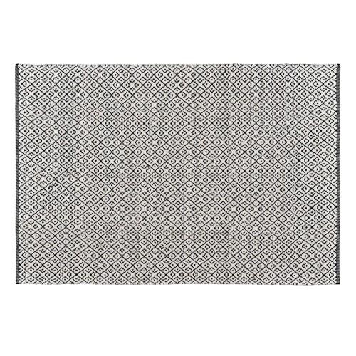 Tapis Malika noir en laine et coton 140x200 cm
