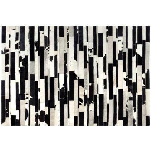 Tapis cuir Vivek noir et blanc 200x300 cm