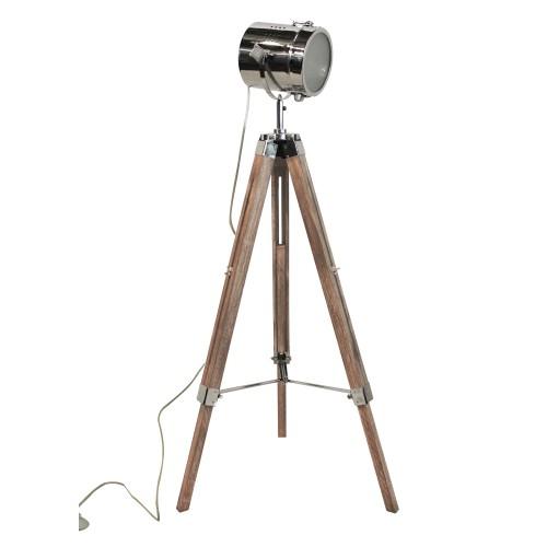 achat lampadaire bois metal trepied