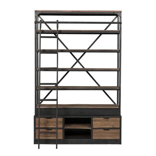 bibliotheque industrielle bois et metal