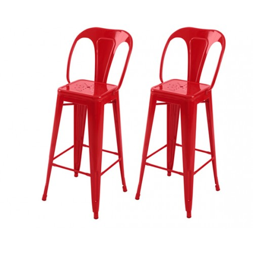 Chaise de bar Indus rouge 76 cm (lot de 2)