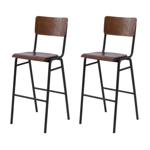 Chaise de bar écolier Clem en bois foncé 75 cm (lot de 2)
