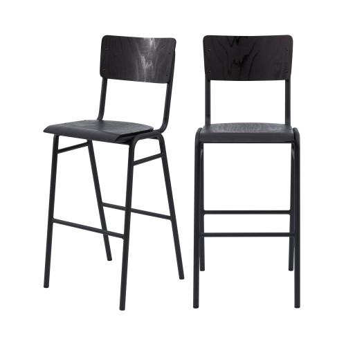 Chaise de bar écolier Clem en bois noir 75 cm (lot de 2)
