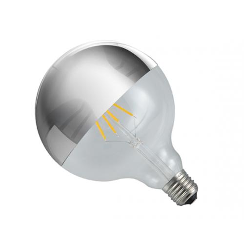 Ampoule globe LED à calotte chromée