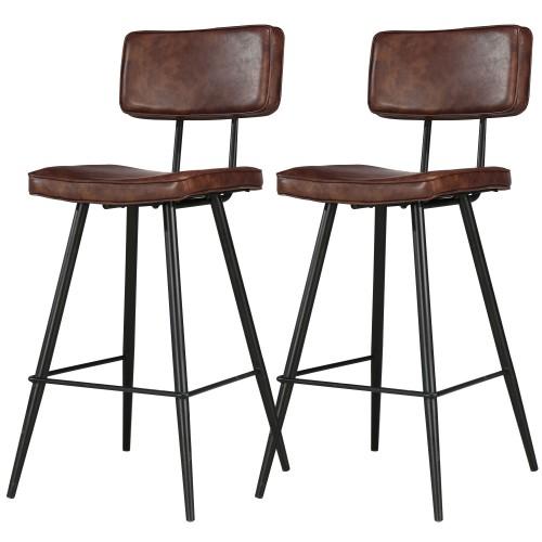 Chaises de bar Texas marron (lot de 2)