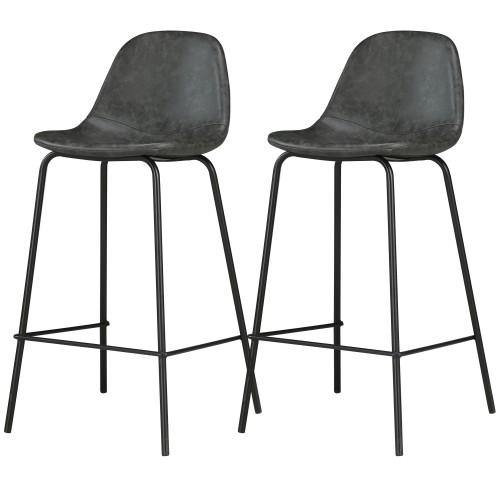 Chaises de bar Henrik noires (lot de 2)
