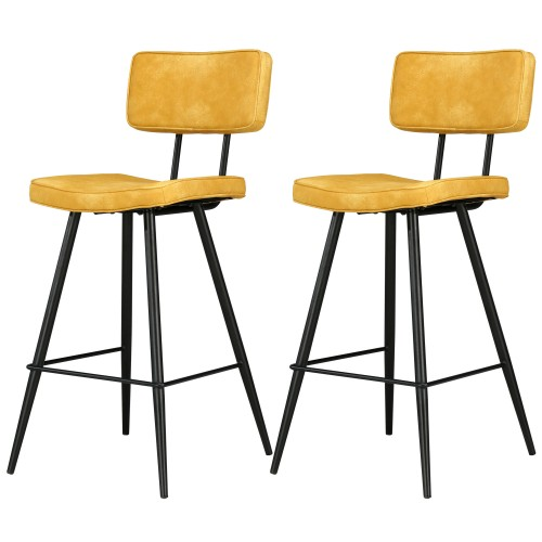 Chaises de bar Texas jaunes (lot de2)