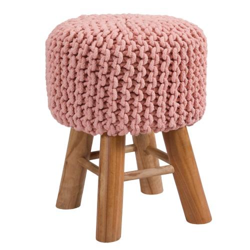 acheter tabouret en tricot rose poudré pieds bois