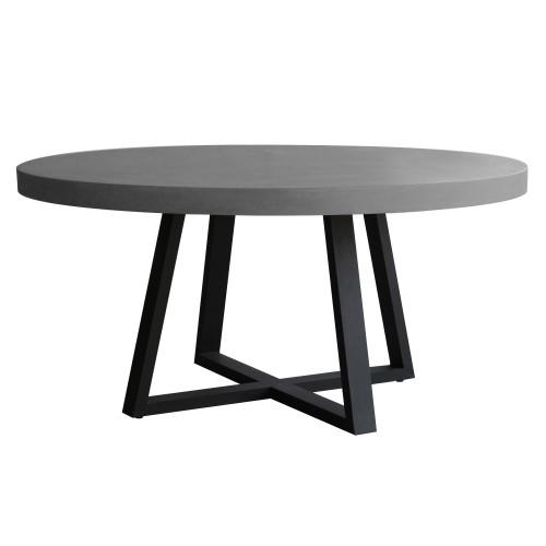 Table ronde 140cm lavastone pieds metal