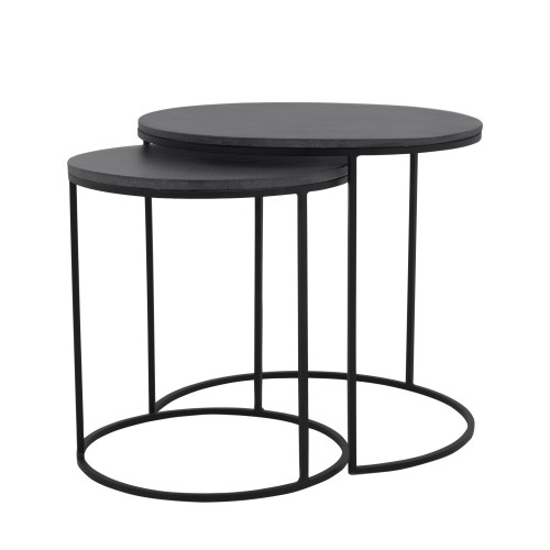 Table basse gigogne ronde Toba lavastone (lot de 2)