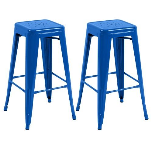 tabouret de bar indus bleu