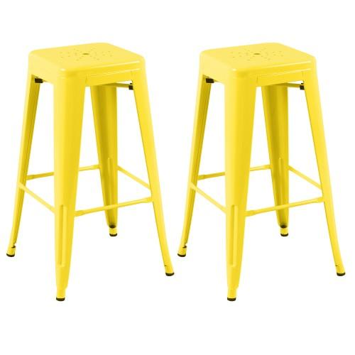 tabouret de bar indus jaune
