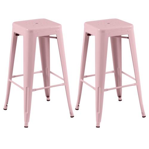 tabouret de bar indus rose lot de 2 craquez pour nos tabourets de bar indus roses rdv d co. Black Bedroom Furniture Sets. Home Design Ideas