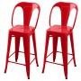 acheter chaise lot de 2 rouge metal