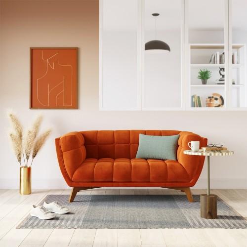 Canapé Mona 2 places en velours orange curcuma