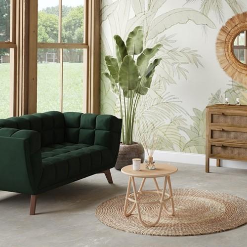 Canapé Mona 2 places en velours vert foncé