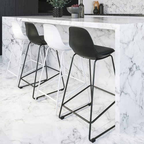 Chaise de bar Leni blanche 65 cm (lot de 2)