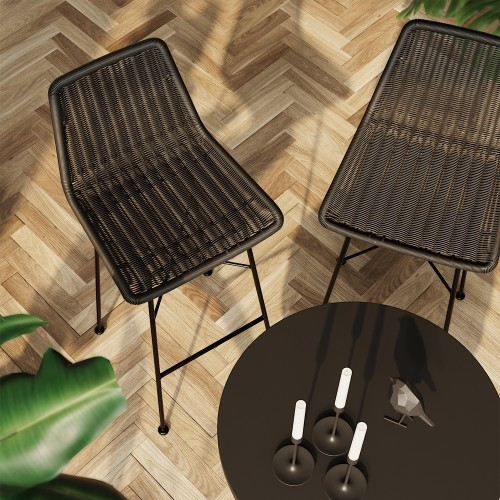 Chaise de bar mi-hauteur Mandya noire 63 cm (lot de 2)