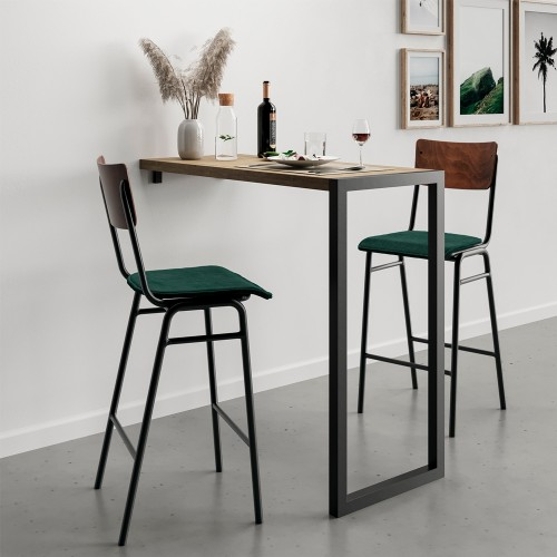 Chaise de bar Nico en velours vert 75 cm (lot de 2)
