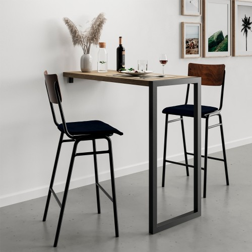 Chaise de bar Nico en velours bleu 75 cm (lot de 2)