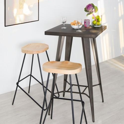 Chaise de bar Victoire en bois 78 cm (lot de 2)