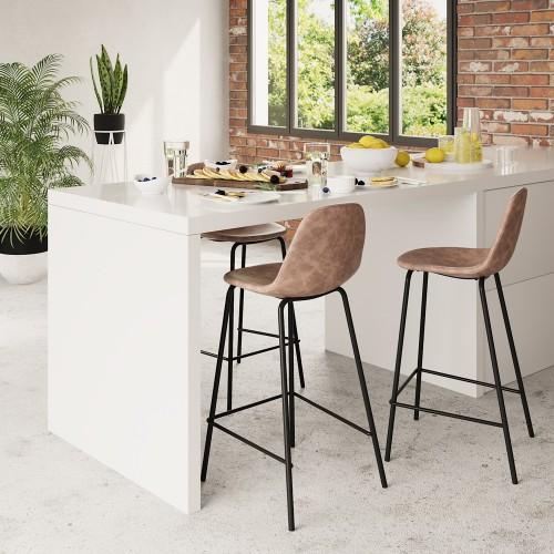 Chaise de bar mi-hauteur Henrik marron clair 65 cm (lot de 2)